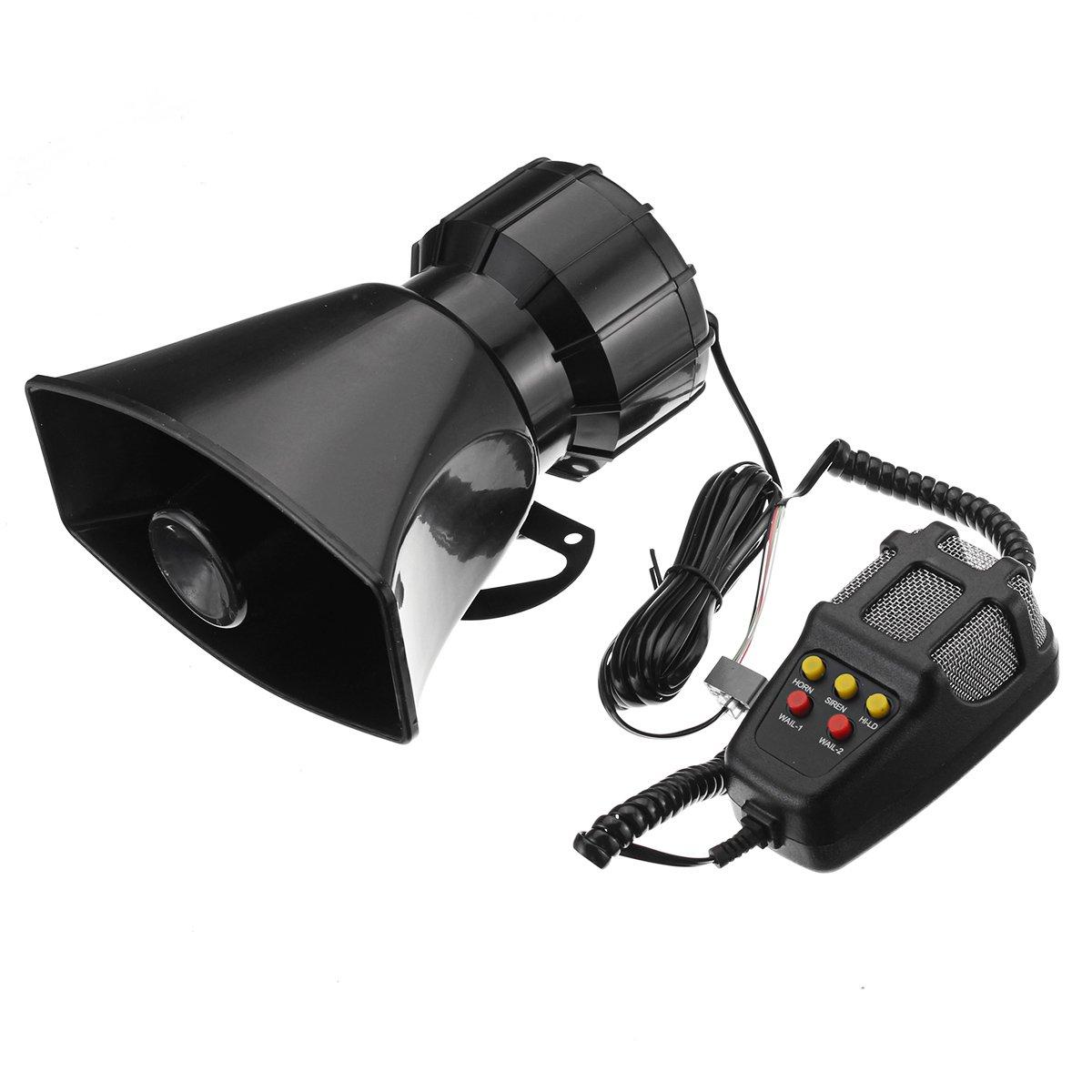 100W Car Warning Alarm 5 Sound Loudly Police Fire Siren Horn PA Speaker with Mic GodsKingdom 7111263229039