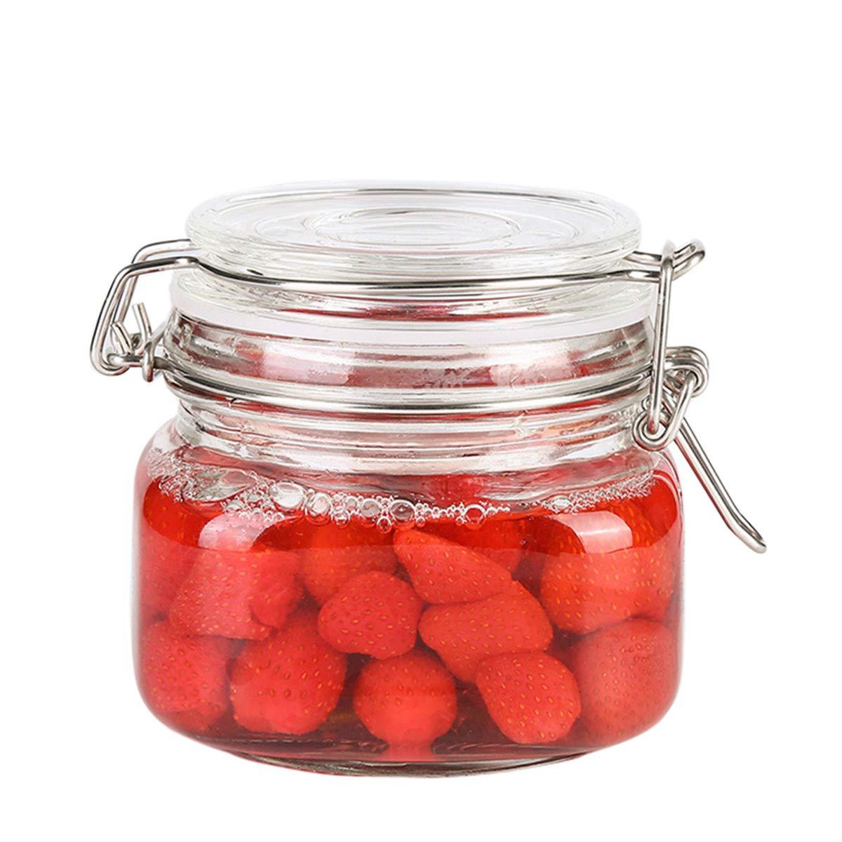 OUNONA 500ml klarem Quadratische Gläsern Container mit Edelstahl Schnalle für Abdichtung Lebensmittelaufbewahrung