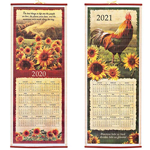 Dual-Sided 2 Year Scroll Calendar, Rooster and