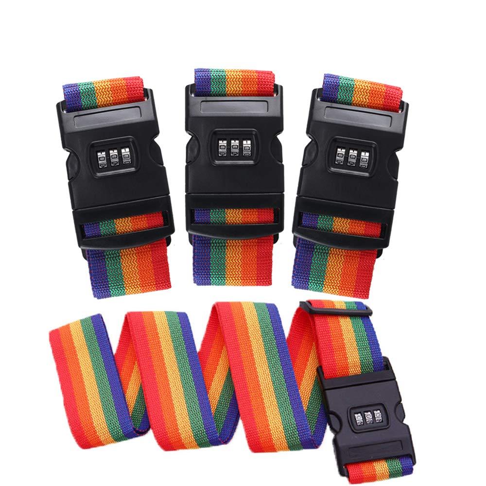 Luggage Straps FJSM 4 Pack Travel Luggage Strap Suitcase Lock Belt Strap Luggage Straps Suitcase Belts Adjustable Suitcase Lock Belt Rainbow Color For Traveling Business Trip