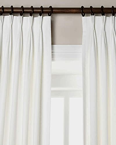 100 Linen Pinch Pleated Lined Window Curtain Panel Drape White