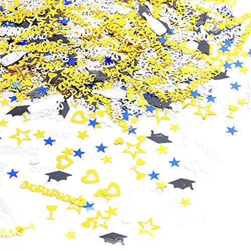 Konsait Graduation Party Supplies Confetti (1.6OZ,2000PCS) for Graduation Decorations Grad Party Accessories GRAD Congratulations Congrats, STAR, CAP, Goblet, Gold Black Silver Blue Mix Grad Confetti