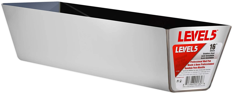 Pro-Grade Ergonomic Contoured Base 12 Stainless Steel Mud Pan Drywall Masonry Tool Tray Bucket/| 5-332 LEVEL5