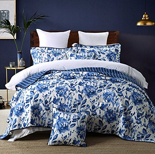 HNNSI Blue and White Porcelain Cotton Quilt Bedspread Set Queen Size 3 Piece ,Chinese Style Floral Comforter Bedding Sets