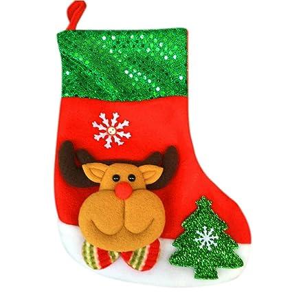 Papá Noel Calcetines Forma Caramelo Regalo Bolso, LILICAT Medias de Navidad Decoración colgante (C