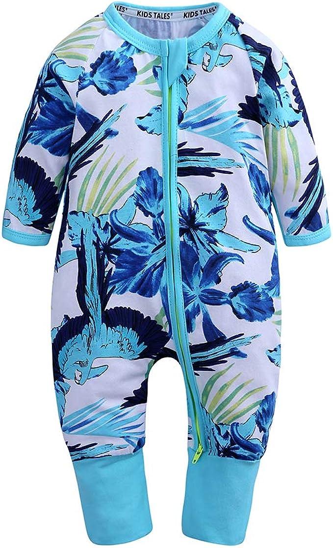 Kids Tales Baby Girls Long Sleeve Footies Zipper Romper Flower Pajama Onesies