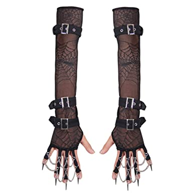 Amazon.com: Steampunk Victorian Lace Fingerless Gloves Arm Warmer ...