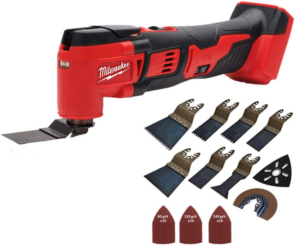 Milwaukee M18BMT-0 M18 18V Compact Multi Tool Body with 39 Pieces Accessories Set