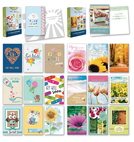 20 Count Boxed Cards w/ Envelopes - Bulk Get Well Greeting Cards w/ Sentiments Written Inside. Envelopes Included - 4