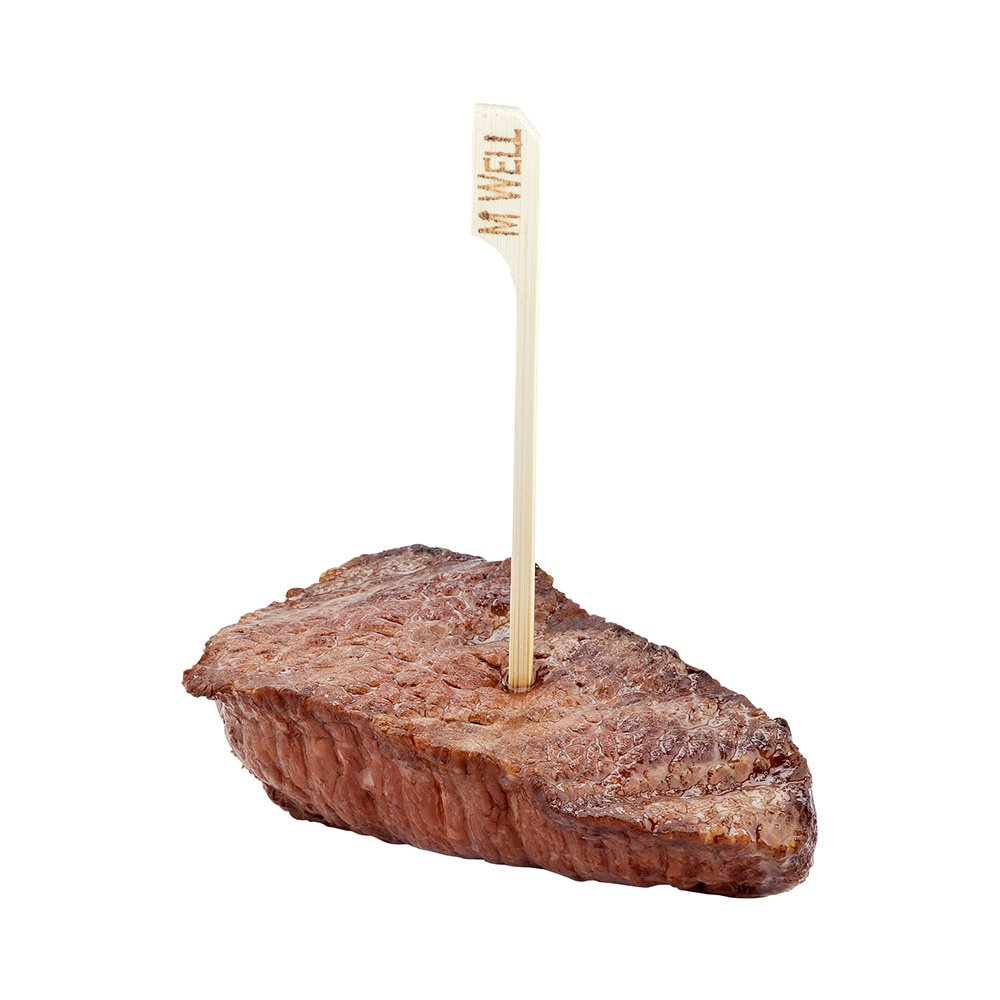 Steak Markers, Meat Markers, Food Markers - Medium Well Label - Bamboo - Disposable - 1000ct Box - Restaurantware