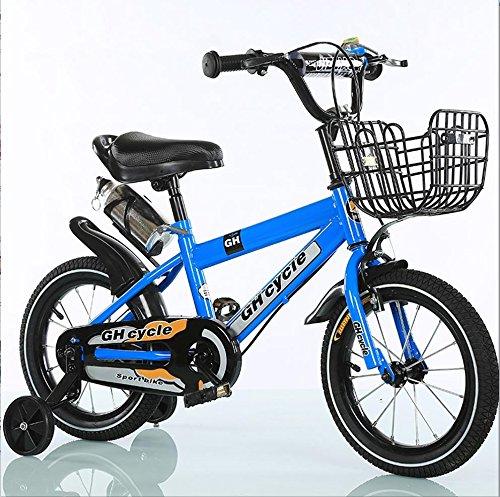子供用自転車16インチ子供用自転車高炭素スチールベビーカー4-7歳の男性と女性の自転車、青/黄 ( Color : Blue )   B07DXFKC7T