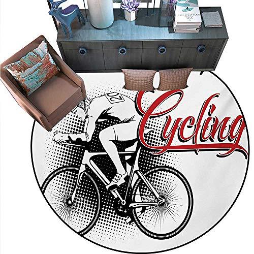 Sports Round Floor Cover Cycling Man Illustration Dotted Setting Biking Athletics Human Powered Vehicle Door mat Indoors Bathroom Mats Non Slip (75
