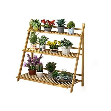 Estante para plantas de flores Estante para estantes de bamb