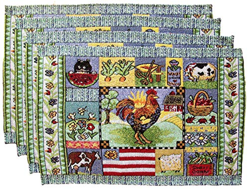 HomeConcepts Farm to Table Woven Tapestry Place Mats - Roosters on Barn Board (Rooster with Country Collage)