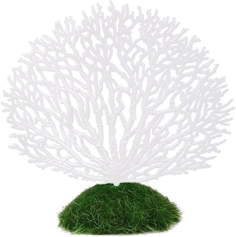 Pixnor K/ünstliche Korallenpflanze Goldfischglas Wei/ß Dekoration f/ür Aquarium