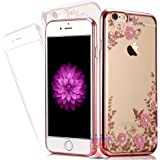 iPhone 5/5s/SE - Shockproof Silicone Soft TPU Transparent Auora Flower Case with Sparkle Swarovski Crystals Soft Back Cover For iPhone 5, iPhone 5s & iPhone SE