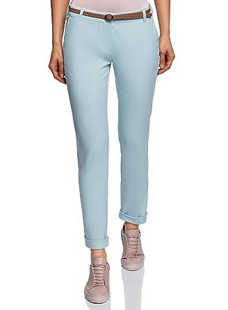 cee40646e2df oodji Ultra Femme Pantalon Chino avec Ceinture  Amazon.fr  Vêtements ...