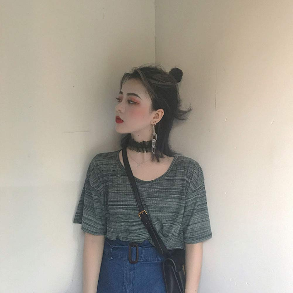 ZXHHL Slim V-Neck Temperament Loose Solid Color Short-Sleeved T-Shirt Student Casual Compassionate-Black