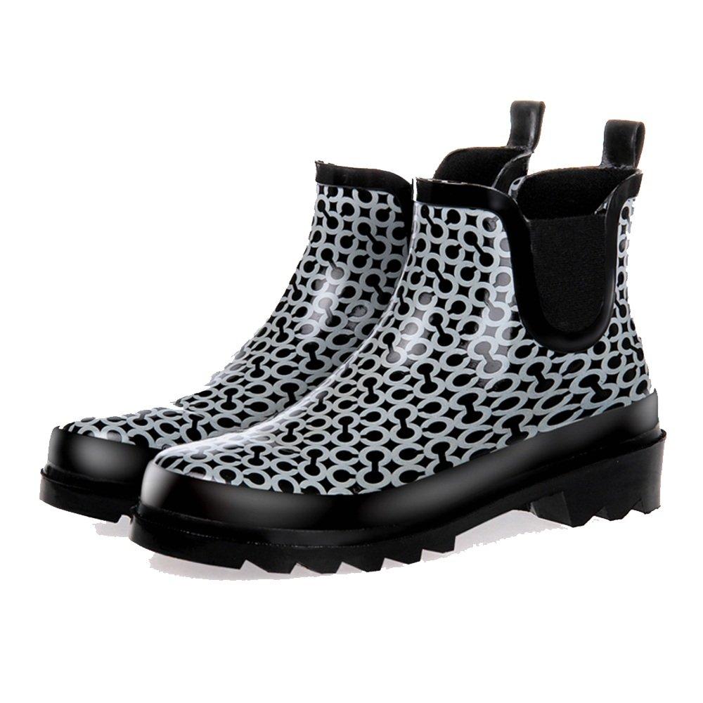 NAN Las botas de lluvia de las mujeres hermosas botas cortas zapatos de jardín zapatos de agua botas de lluvia del círculo de la manera ( Color : Negro , Tamaño : EU38/UK5.5/CN38 ) Negro