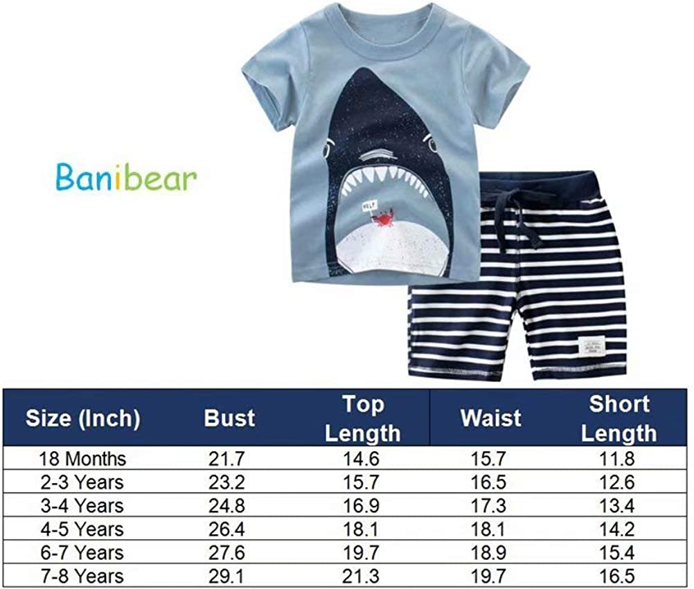 Banibear Boys Cartoon Tees and Shorts Set Outfit 18M-8Y