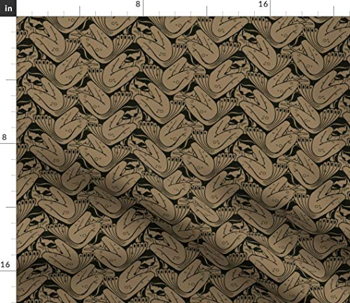 - Spoonflower Art Nouveau Mermaid Tessellation Fabric - Nereides 1B Ocean Deco Victorian Black and Tan Fish Print on Fabric by The Yard - Petal Signature Cotton for Sewing Quilting Apparel Crafts Decor