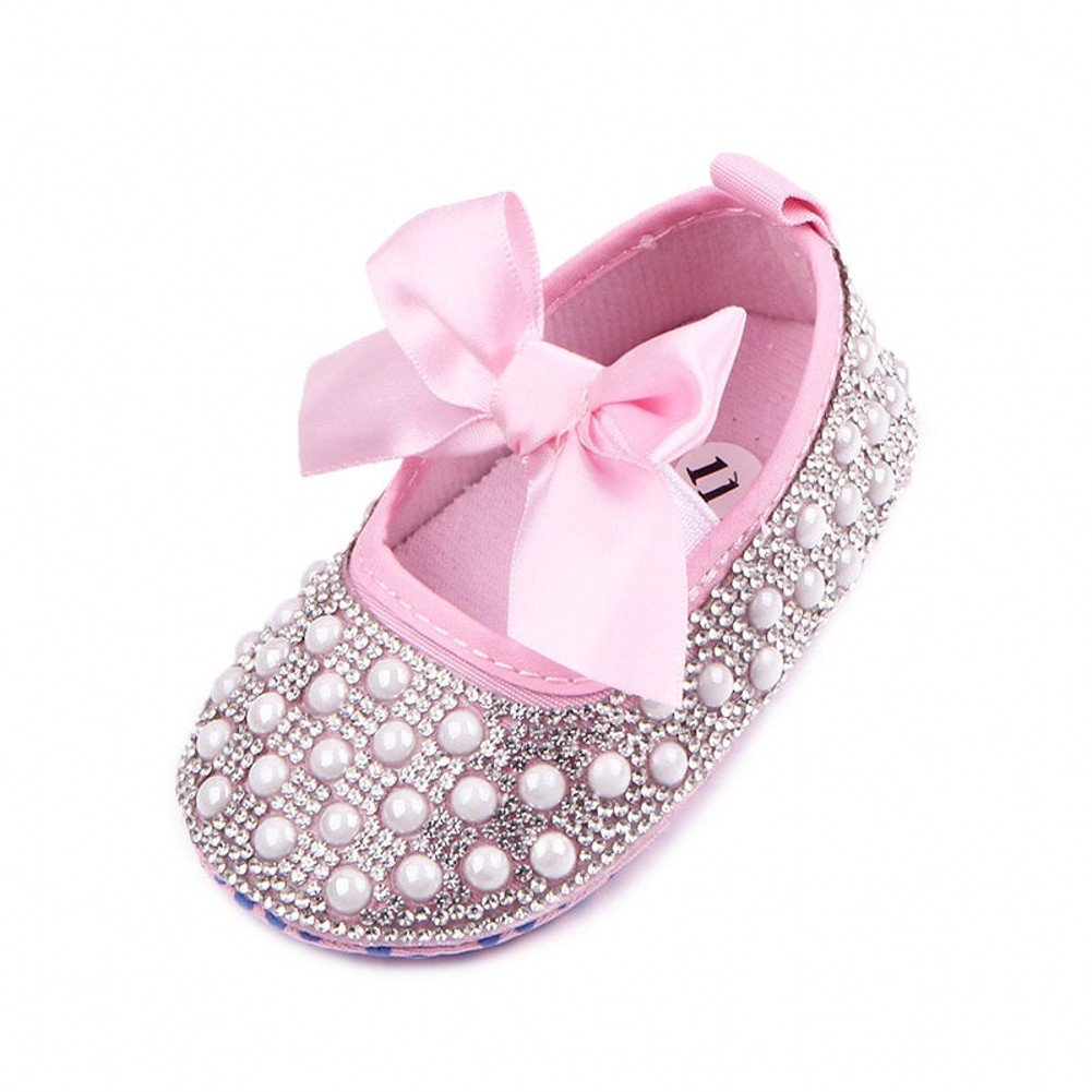 Newborn Baby Bow Bling Crystal Pearl Mary Jane Toddler Prewalker Shoes Pink 0-6 Months