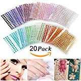 gem brads - Self-Adhesive Rhinestones, Ubegood Rhinestone Stickers 3300 PCS DIY Gem Rhinestone 4 Sizes 20 COLORS Assorted Ideal for Makeup, Festival, Crafts & Embellishments( Pack of 20)