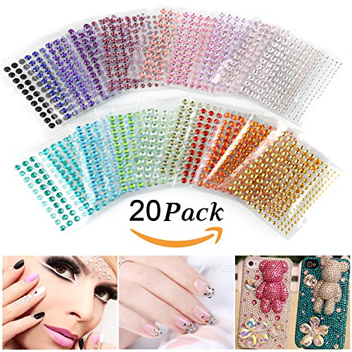 Self-Adhesive Rhinestones, Ubegood Rhinestone Stickers 3300 PCS DIY Gem Rhinestone 4 Sizes 20 COLORS Assorted Ideal for Makeup, Festival, Crafts & Embellishments( Pack of 20) (Rhinestone Brads)