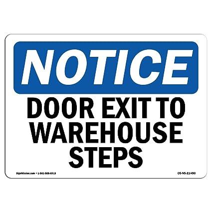 Señal de advertencia de Osha - Salidas de puerta a escalones ...