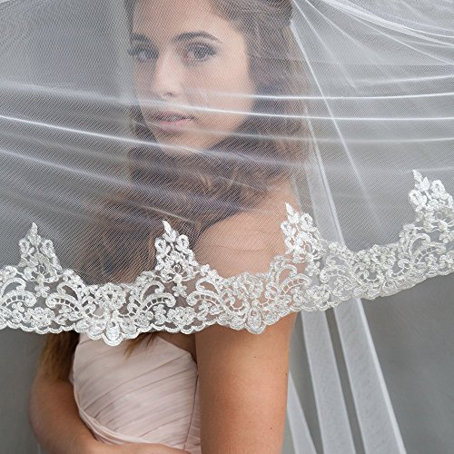 Lace Cathedral Mantilla Veil with Embellishments and Silver Threading by The Mantilla Company