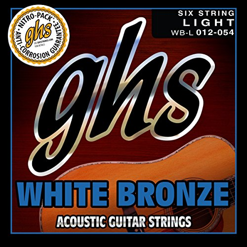 GHS Strings WB-L White Bronze Acoustic Guitar Strings, Light