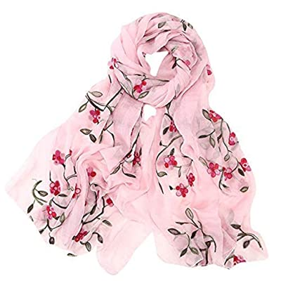 HENWERD Womens Embroidery Chiffon Scarf Hijab Wrap Shawls Headband Muslim Hijabs Scarf (Pink) at Women's Clothing store