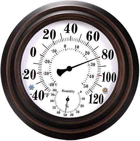 DEBEME Indoor//Outdoor Thermometer Hygrometer For Room Wall Metal Decorative No Battery Required Big Hanging Hygrometer Round 8/'/'in diameter Kitchen Beautiful Thermometer Hygrometer Patio