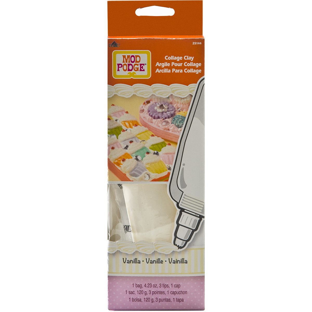 Mod Podge Collage Clay, 25144 Vanilla White 4.23Ounce Plaid Inc glue top coat craft