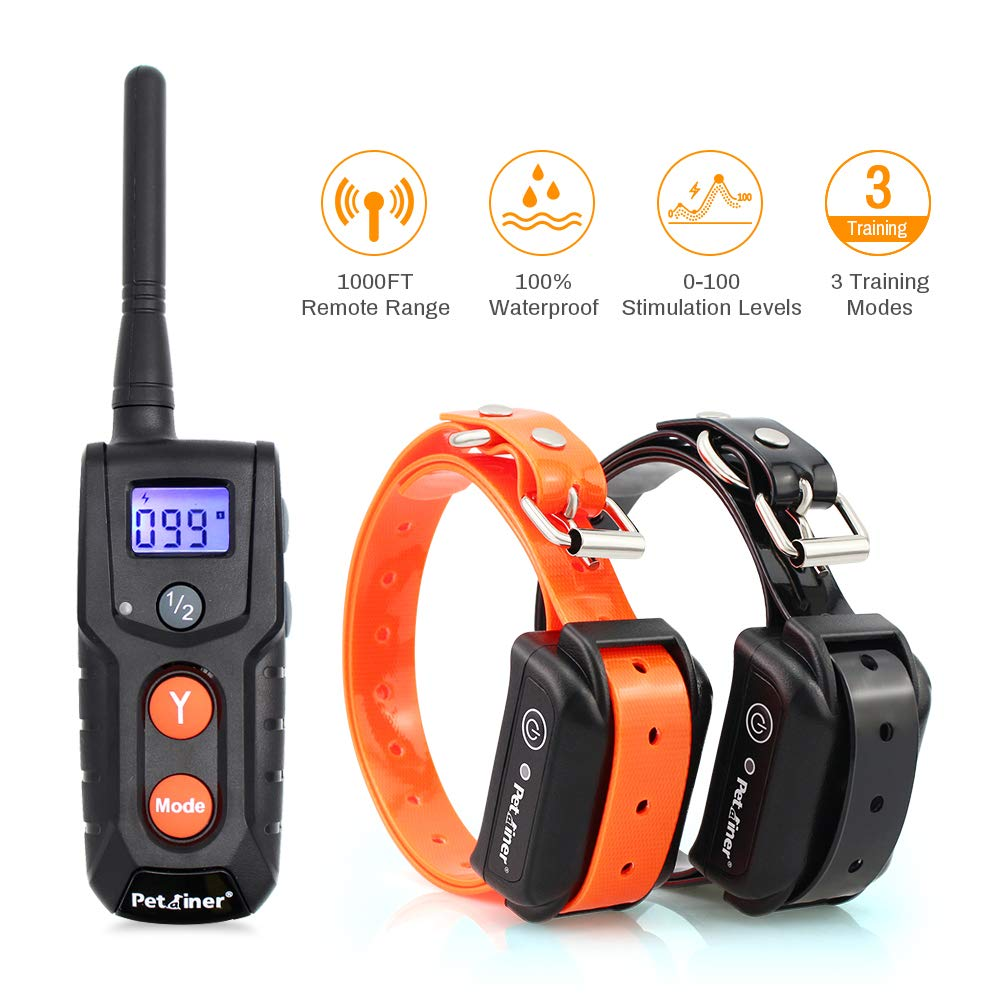Dog Training Collars with Remote - Shock Collar for 2 Dogs, Small, Medium, Large, Rechargeable 100% Waterproof E-Collar with 3 Training Correction Modes, Shock, Vibration, Beep, 1000' Range by Petrainer
