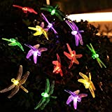 DINOWIN Dragonfly lights, 20FT/6M 30 LED Solar String Lights with 8 Modes Lights Waterproof for Outdoor, Garden, Christmas Decorations (Multicolor)