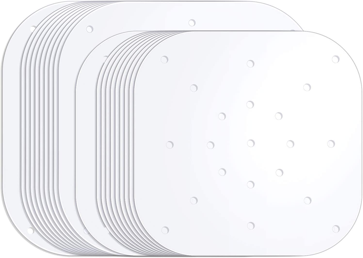 200 Pieces Air Fryer Liners 7.5 Inch 8.5 Inch Air Fryer Parchment Paper Square Steaming Paper Perforated Parchment Paper for Air Fryer Steaming Basket (White)