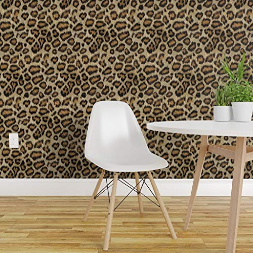 Spoonflower Pre-Pasted Removable Wallpaper, Leopard Printed Animal Cheetah Costume Print, Water-Activated Wallpaper, 24in x 144in Roll