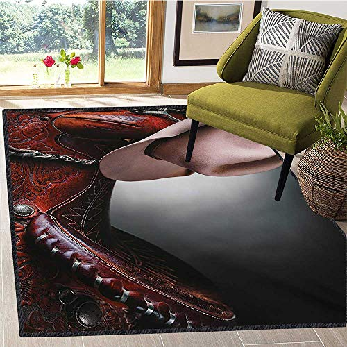 Western, Door Mats Area Rug, Horse Saddle with a Cowboy Hat Wild Texas Fashion States Men Whip It Photography, Door Mats for Inside 4x6 Ft Brown Cream