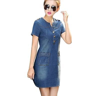 Alixyz Women Summer Mini Jeans Dress Sexy Slim Bodycon Denim Dress Plus Size (2XL,