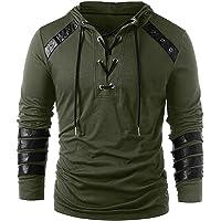 Functioneel shirt heren Halloween heren Gothic Solid Colors bandage lange mouwen pullover losse hoodie top…