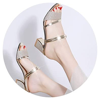 fa09debe7e Image Unavailable. Image not available for. Color: Colorful-Day Shallow Flats  2019 New Summer Women Flat Sandals Shoes Women Square Heel Sandalias