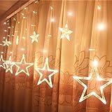 Taikang LEDカーテンライト イルミネーションライト 星型ライト 138LED 2m×1m クリスマスツリー 8種類点灯パターン 複数連結可能 コントローラ付き ウェディング/パーティー/クリスマスなどイベントに大活躍 室内外装飾用 (ウォームホワイト)