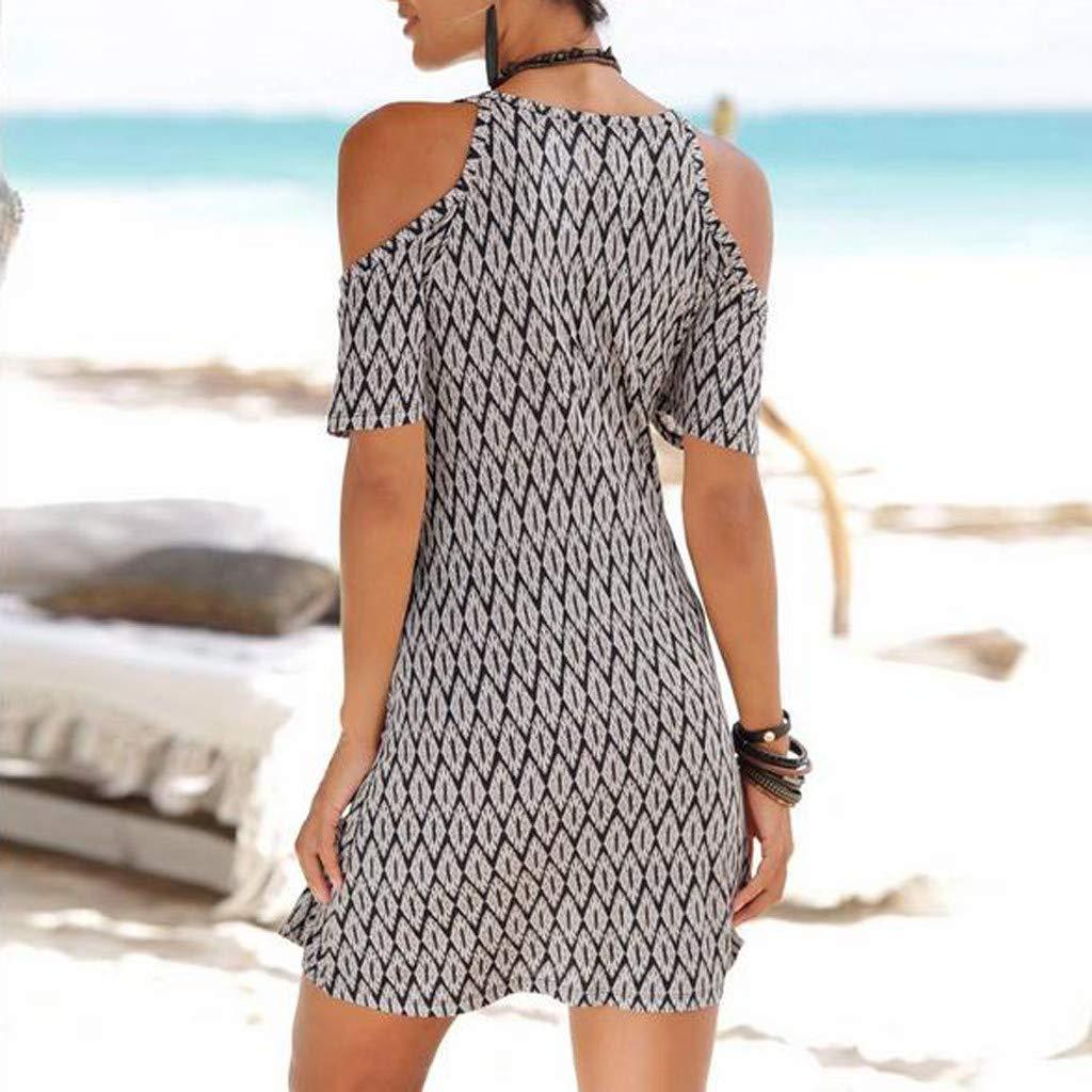 Women's Sexy Cold Shoulder Short Sleeve Midi Dress Geometric Pattern Boho Style Loose Sundress Vintage Sling Dresses (XXL) by Cealu (Image #4)