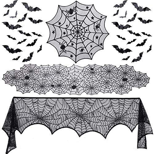 Gugusure 39 Pieces Halloween Decorations Set Include Lace Spider Web Table Runner, Round Lace Table Cover, Fireplace Mantel Scarf and 36 pcs 3D Bat Wall Decals Stickers for Halloween Party