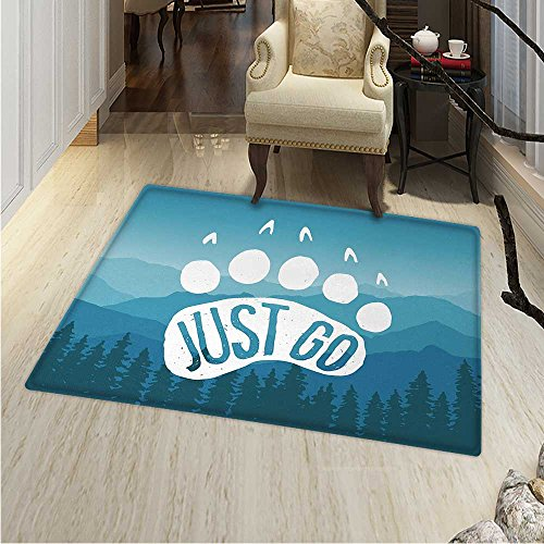 Retro Poster Area Rug Inspirational Just Go Motivational Quo