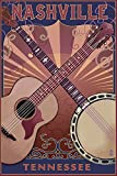 Nashville, Tennessee - Guitar and Banjo Music (12x18 Art Print, Wall Decor Travel Poster)