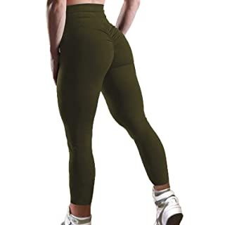 FITTOO Women's High Waisted Bottom Scrunch Leggings Ruched Yoga Pants Push up Butt Lift Trousers Workout Army Green M