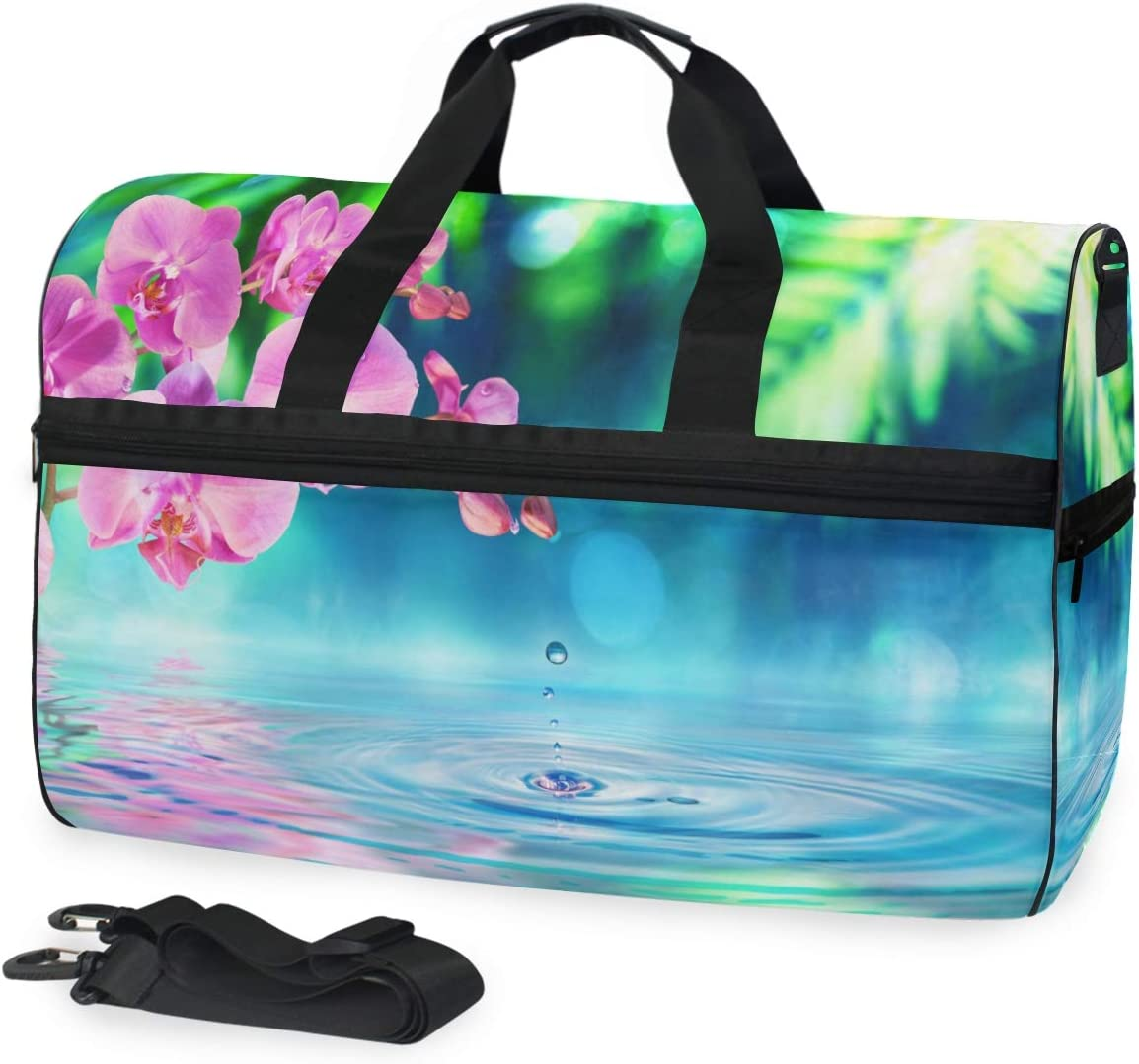 ALAZA Orchid Flowers with Zen Stone Sports Gym Duffel Bag Travel Luggage Handbag Shoulder Bag with Shoes Compartment for Men Women