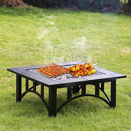Kinbor 33-Inch BBQ Grill Portable Wood Burning Fire Pits Iron Backyard Patio Garden Square Fire Pit with Cooking Grill, Spark Screen and Free Waterproof PVC Cover